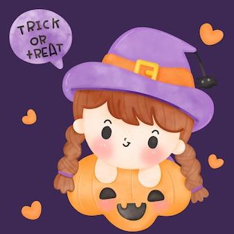 Fröhliches halloween-aquarell-cartoon-hexenmädchen mit jack-o-laterne kawaii illustration