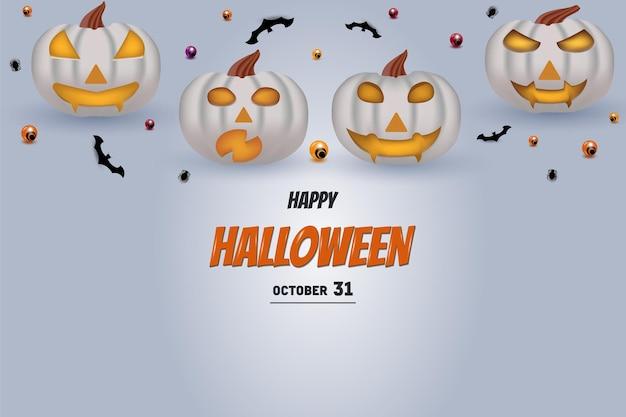 Fröhliches halloween auf kürbishintergrund, der auf inschrift steht