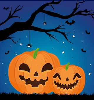 Fröhliches halloween-banner mit kürbissen, trockenem baum und fliegenden fledermäusen