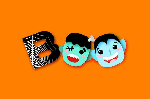 Fröhliches halloween. boo. monster. lächeln dracula, frankenstein. lustiger gruseliger vampir. netz. süßes oder saures. platz für text orange