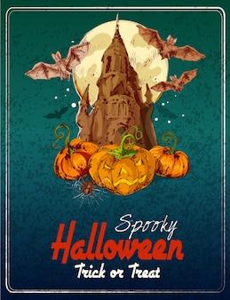 Fröhliches halloween farbige abbildung. süßes oder saures