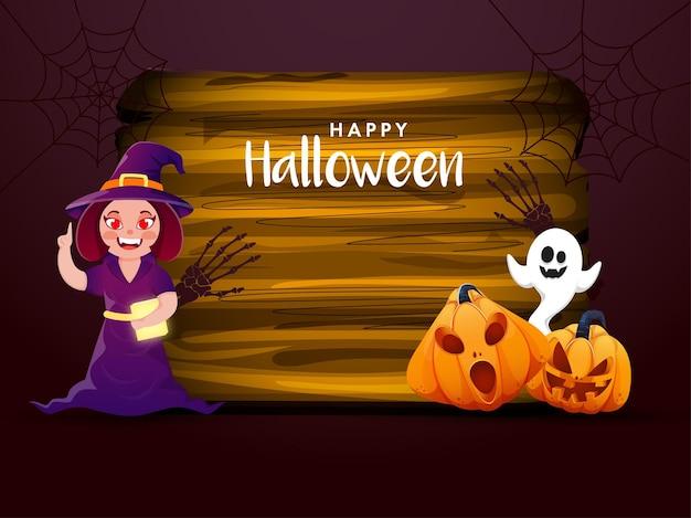 Fröhliches halloween-feier-konzept mit fröhlicher hexe, die buch, beängstigende kürbisse, cartoon-geist und holzrahmen auf burgunder-hintergrund hält.