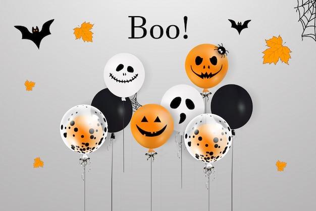 Fröhliches halloween. feiertagskonzept mit halloween-luftballons, fallenden blättern, halloween-spinne, halloween-fledermaus für fahne, plakat, grußkarte, partyeinladung. vektorillustration.