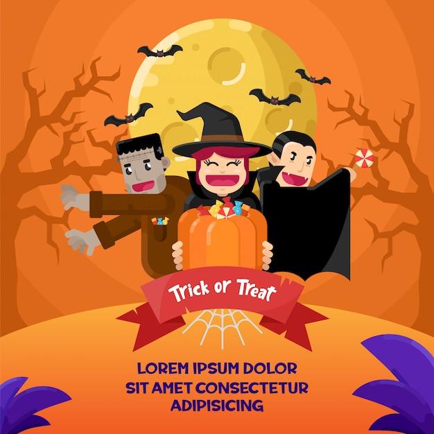 Fröhliches halloween. flache illustration des hexen-, vampir- und frankenstein-kostüms
