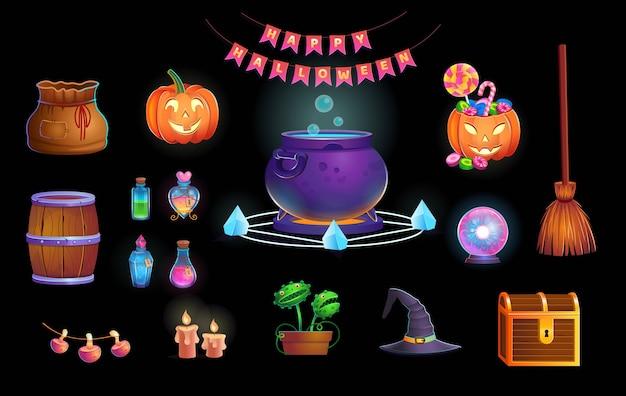 Fröhliches halloween. großes halloween-set mit tür, kessel, kürbissen, süßigkeiten, vedim-hut, zauberkugel, tränken, besen, fliegenfänger, spinnen und kerzen. symbole für spiele und mobile anwendungen