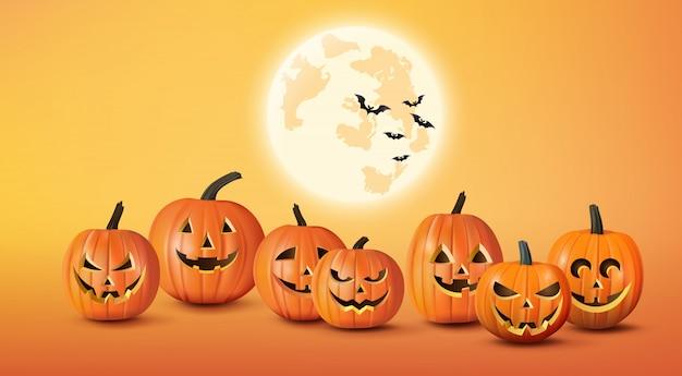 Fröhliches halloween-grußbanner mit kürbissen und fledermäusen.