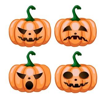 Fröhliches halloween. halloween-kürbis. kürbisgefühle für halloween. elemente für die dekoration des urlaubs.