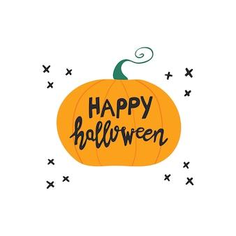 Fröhliches halloween. handgeschriebener schriftzug auf orangefarbenem kürbis mit schwarzen kreuzelementen des gekritzels. auf weißem hintergrund isoliert.