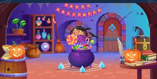 Fröhliches halloween. innenraum des halloween-zimmers mit tür, kessel, kürbissen, süßigkeiten, vedim-hut, zauberball, tränken, besen, fliegenfänger, spinnen und kerzen. hintergrund für spiele und mobile anwendungen.