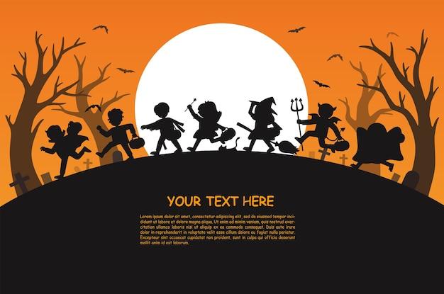 Fröhliches halloween. kinder in halloween kostüm gekleidet, um süßes oder saures zu gehen. vorlage für werbebroschüre.