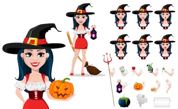 Fröhliches halloween. kit der schönen dame hexe