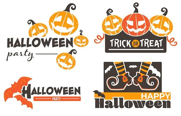 Fröhliches halloween, kürbisse und fliegende fledermäuse vektor