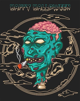 Fröhliches halloween mit deathman, es ruft einen zombie zurück zum leben mit zigarette im mund, details mit gehirn, das auf dem kopf schaut und viel narbe auf seiner haut und mond als hintergrund