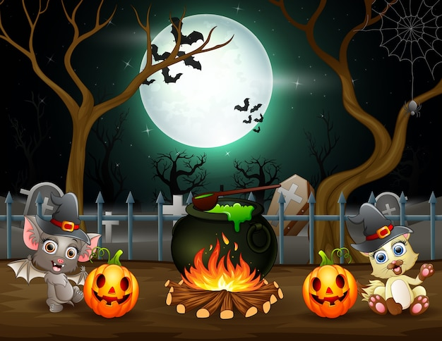 Fröhliches halloween mit einer fledermaus und einem fuchs, die einen trank vorbereiten