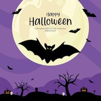 Fröhliches halloween mit fledermauskarikaturentwurf, feiertag und unheimlichem thema.