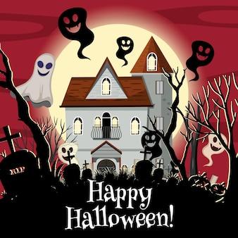 Fröhliches halloween mit geisterhaus
