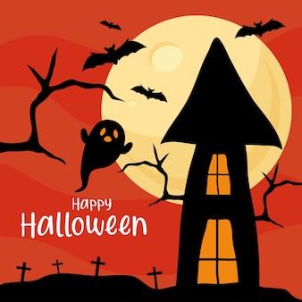 Fröhliches halloween mit geisterkarikatur vor hausdesign, feiertag und gruseligem thema.