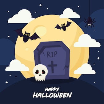 Fröhliches halloween mit grabentwurf, feiertag und gruseligem thema.