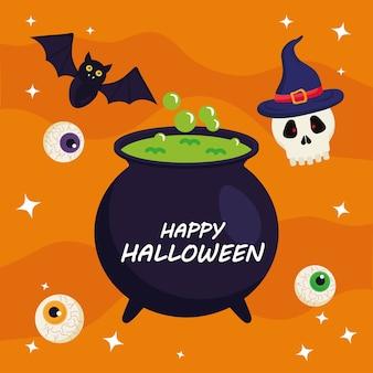 Fröhliches halloween mit hexenschüsseldesign, feiertag und gruseligem thema.