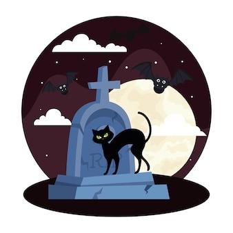 Fröhliches halloween mit katze, fliegenden fledermäusen und grabstein