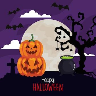 Fröhliches halloween mit kessel, kürbisse in der dunklen nacht