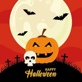 Fröhliches halloween mit kürbis- und schädeldesign, feiertag und gruseligem thema.