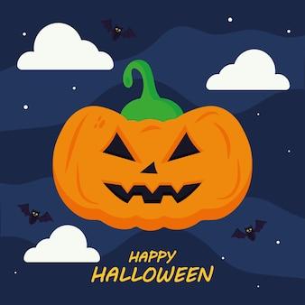 Fröhliches halloween mit kürbiskarikaturentwurf, feiertag und unheimlichem thema.