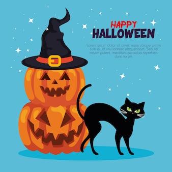 Fröhliches halloween mit kürbissen, huthexe und katze