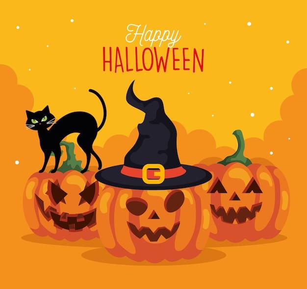 Fröhliches halloween mit kürbissen, katze und huthexe