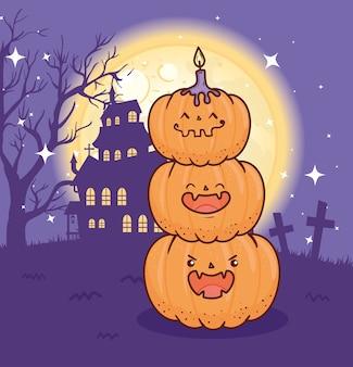 Fröhliches halloween mit kürbissen und heimgesuchtem schloss