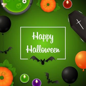 Fröhliches halloween mit luftballons und trank