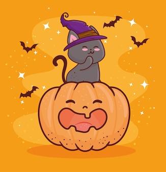 Fröhliches halloween mit niedlichem kürbis und katze