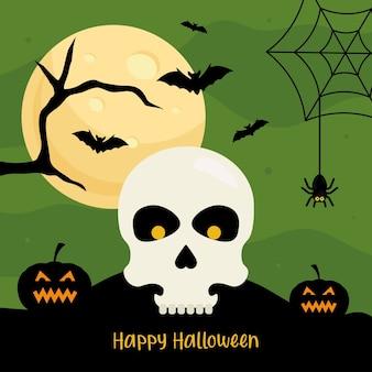 Fröhliches halloween mit schädelkarikaturentwurf, feiertag und unheimlichem thema.
