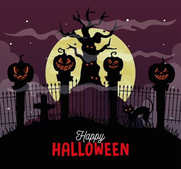Fröhliches halloween mit spukbaum und kürbissen in der dunklen nacht