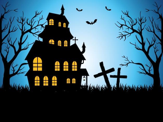 Fröhliches halloween mit verzaubertem schloss