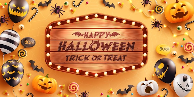 Fröhliches halloween mit vintage-holzbrettbeängstigende luftballonskürbis und halloween-elemente