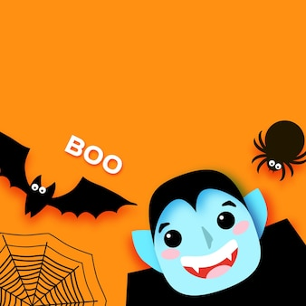 Fröhliches halloween. monster. dracula - lustiger gruseliger vampir. süßes oder saures. fledermaus, spinne, netz. platz für text. boo orange vektor