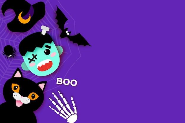 Fröhliches halloween. monster frankenstein. schwarze katze. süßes oder saures. fledermaus, spinne, netz, knochen. platz für text lila. vektor