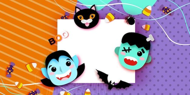 Fröhliches halloween. monster papierschnitt-stil. dracula und schwarze katze, frankenstein. lustiger gruseliger vampir. süßes oder saures. fledermaus, spinne, netz, süßigkeiten, knochen. quadrat platz für text orange lila