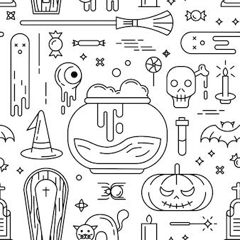 Fröhliches halloween. nahtlose muster mit symbolen.
