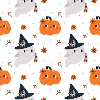 Fröhliches halloween nahtloses muster mit süßen geistern in hexenhut und kürbissen