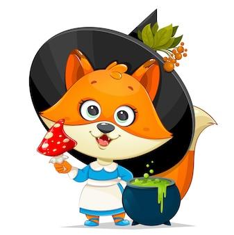 Fröhliches halloween. nette foxy hexe. lustiger hexenfuchs mit fliegenpilz und kessel mit trank. vektorgrafik auf weißem hintergrund