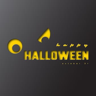 Fröhliches halloween. papierschnittstil, 3d-effekt. dunkler hintergrund. vektor-illustration