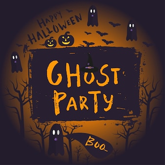 Fröhliches halloween-poster-design mit traditionellen symbolen und handgezeichneter schriftzug-geisterparty. vektorillustration kann für tapeten, webseite, weihnachtskarte, einladungsdesign verwendet werden.