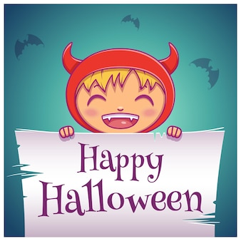 Fröhliches halloween-poster mit kleinem kind im kostüm des teufels mit pergament auf dunkelblauem hintergrund. fröhliche halloween-party. für poster, banner, flyer, einladungen, postkarten.
