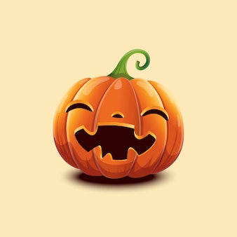 Fröhliches halloween. realistischer vektor halloween-kürbis. glückliches gesicht halloween-kürbis auf hellem hintergrund isoliert. eps 10