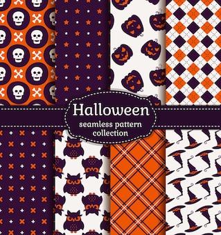 Fröhliches halloween! satz nahtlose muster mit traditionellen feiertagssymbolen