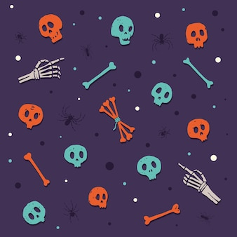 Fröhliches halloween. schädel und knochen. satz farbige karikaturelemente auf thema des feierns von halloween. illustration.