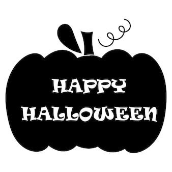 Fröhliches halloween - schriftzug auf kürbisschattenbild. vektor-illustration.