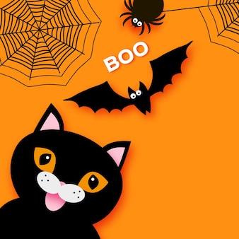 Fröhliches halloween. schwarze katze. süßes oder saures. fledermaus, spinne, netz. platz für text. buh. orange.